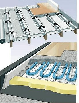A picture showing suspended floor and solid floor underfloor heating